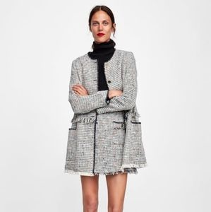 Zara texture weave coat with contrasting piping -S